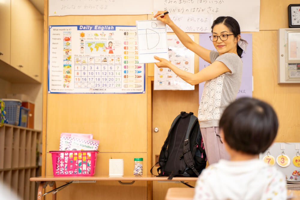 外国人講師から英会話を学んでいる子どもたち
